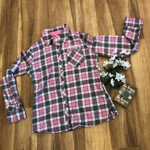Justice girls flannel with owl design